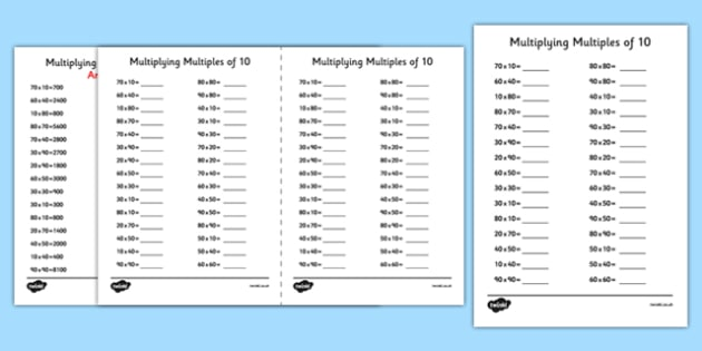 Multiplying Multiples of 10 Using Known Facts A5 Worksheet / Worksheet