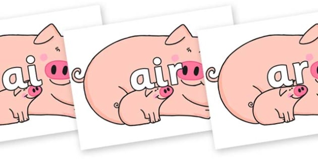 Phase 3 Phonemes on Hullabaloo Pigs to Support Teaching on Farmyard Hullabaloo - Phonemes, phoneme, Phase 3, Phase three, Foundation, Literacy, Letters and Sounds, DfES, display