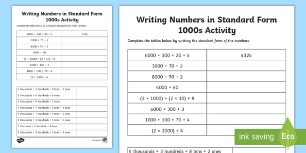 Writing Numbers In Standard Form 1000s Worksheet Activity