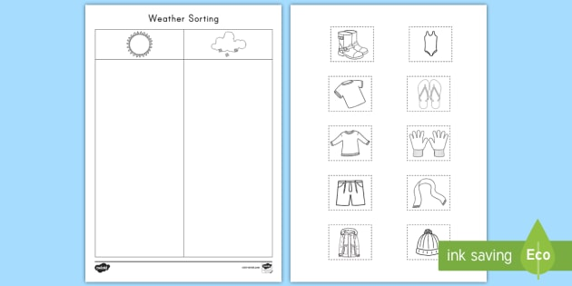 Weather Sorting Worksheet / Worksheet