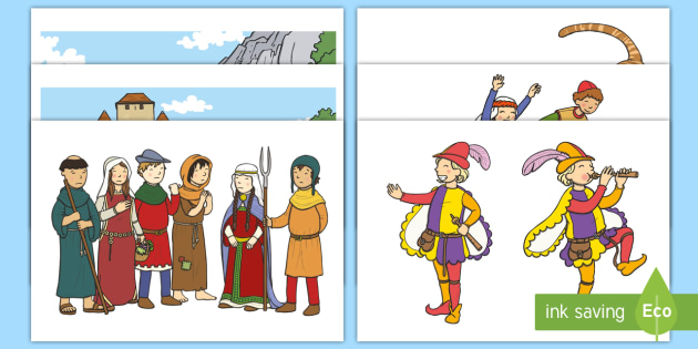 The Pied Piper Story Cut Outs - Pied Piper, story, children, rats, Hamelin, pipes, cats, cut outs, cutting, cut, cave, villagers, mountain, town, money, story book