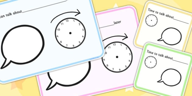 We Can Talk About Later And Time To Talk Visual Support Cards