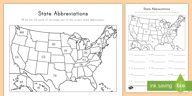 State Abbreviations Map Worksheet / Worksheet - States and Capitals, USA
