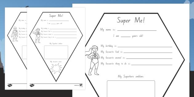 New Zealand All About Me Superhero Emblem Worksheet / Activity Sheet
