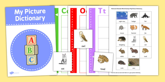 Nocturnal Animals Picture Dictionary Word Card Set - dictionary