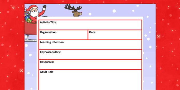 Christmas Themed Adult Led Carpet Based Activity Plan Template