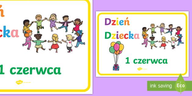 Plakat Dzień Dziecka 1 czerwca - czerwiec, czerwca, dziecko, dziecka, dzieciaka, dzieciak, dzieci, gazetka, lato, balon, baloniki, 1/