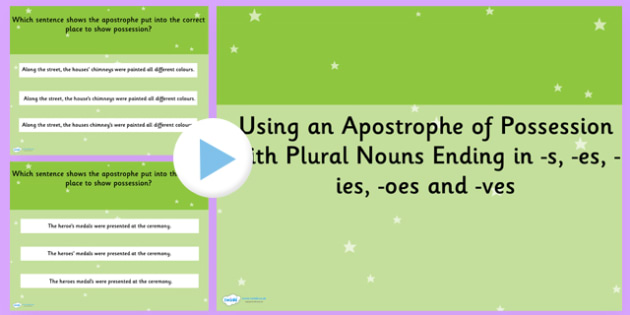 Using an Apostrophe of Possession Plural Nouns SPaG PowerPoint
