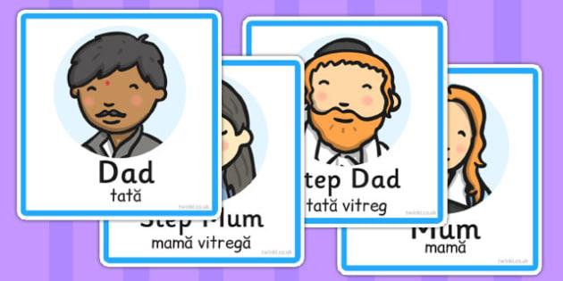 Family Members Role Play Badges Romanian Translation - romanian