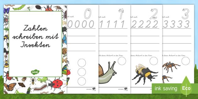 NEW * Zahlen schreiben mit Insekten Arbeitsblätter - Zahlen