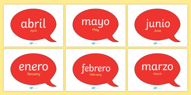A1 Globos de diálogo bilingües - Los meses del año en inglés - inglés, año, calendario, decoración, enero, febrero, marzo, abril, mayo, junio, julio, agosto, septiembre, setiembre, octubre, noviembre, diciembre
