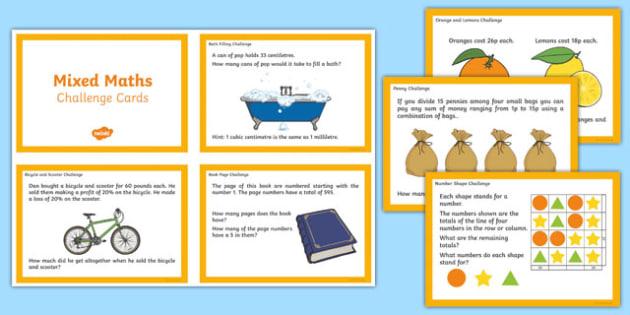 UKS2 Mixed Maths Challenge Cards - challenge, cards, maths, uks2
