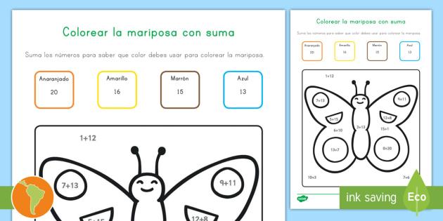 Colorear con números: La suma y la mariposa - sumar, sumar