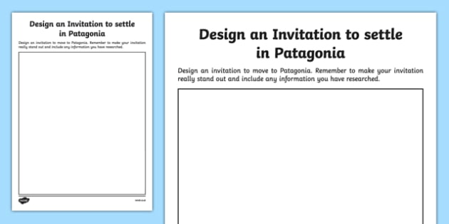 Patagonia Design an Invitation Template - welsh, cymraeg, Design an invitation, Patagonia
