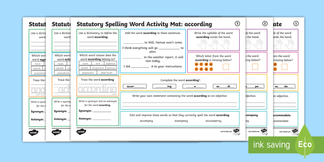 Year 5 and 6 Statutory Spelling Words Activity Mat Pack 1 ...