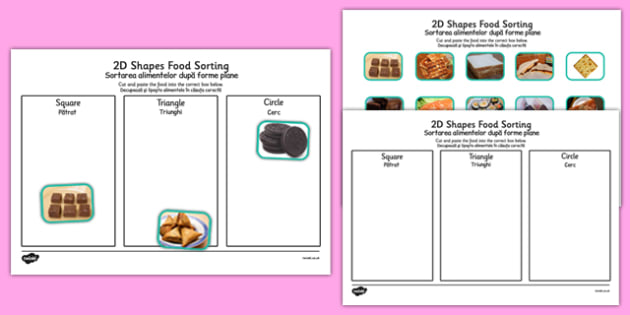 Food 2D Shape Sorting Activity Romanian Translation - romanian, food, 2d shape, sorting, activity, 2d, shape