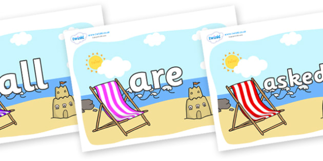 Tricky Words on Seasides - Tricky words, DfES Letters and Sounds, Letters and sounds, display, words