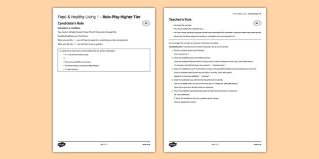 L'alimentation et la vie saine 1 Jeu de rôleHigher Tier -  EAL, translated, conversation, speaking