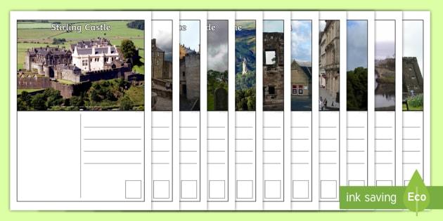 Stirling Postcards-Scottish - Scottish Cities, Scotland, Stirling, Literacy, creating texts, tourist attractions ,Scottish
