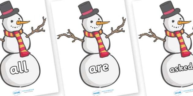 Tricky Words on Snowmen - Tricky words, DfES Letters and Sounds, Letters and sounds, display, words