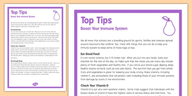 Top Tips to Boost Your Immune System Poster - top tips, boost, immune, system, poster, display