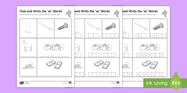 Find And Write The Oe Words Differentiated Worksheet Activity Sheets