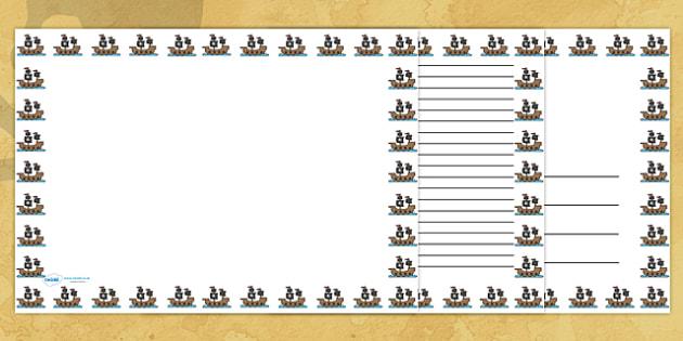 Pirate Ship Landscape Page Borders- Landscape Page Borders - Page border, border, writing template, writing aid, writing frame, a4 border, template, templates, landscape