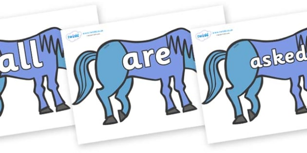 Tricky Words on Blue Horse to Support Teaching on Brown Bear, Brown Bear - Tricky words, DfES Letters and Sounds, Letters and sounds, display, words