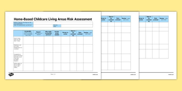 Home-Based Childcare Living Areas Risk Assessment