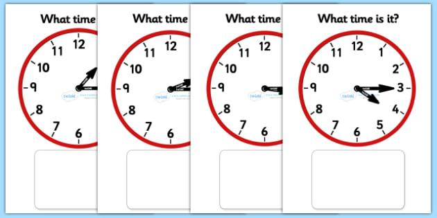 Clock Matching Game - O' Clock - education, home school, child development, children activities, free, kids, math games, worksheets, number work
