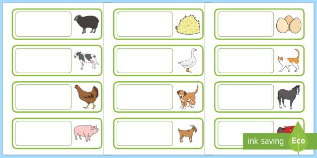 Farm Themed Drawer Peg Name Labels - farm, label, farm labels