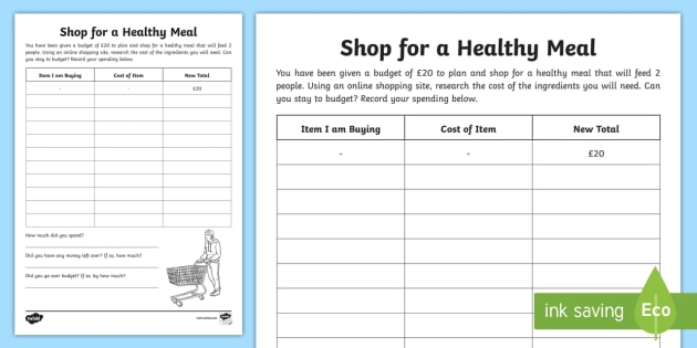 Shop for a Healthy Meal Worksheet / Worksheet - CfE Healthy ...