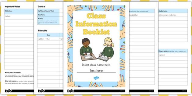 Editable Class Information Booklet - editable, class, information