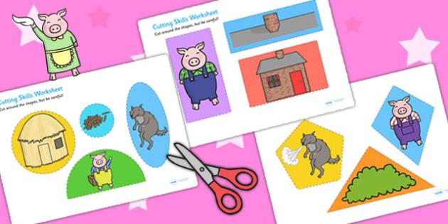 The Three Little Pigs Themed Cutting Skills Activity Sheet - cut