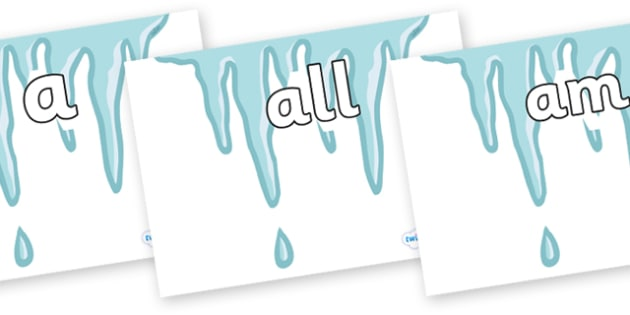 Foundation Stage 2 Keywords on Icicles - FS2, CLL, keywords, Communication language and literacy,  Display, Key words, high frequency words, foundation stage literacy, DfES Letters and Sounds, Letters and Sounds, spelling