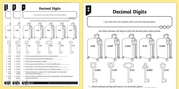 decimal digits worksheet  worksheet  number and place value worksheet decimal digits worksheet  worksheet  number and place value worksheet  read write