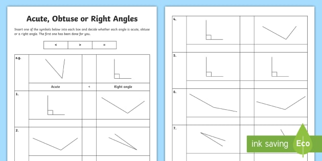 Greater Than or Less Than a Right Angle Worksheet