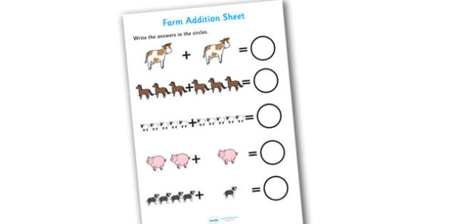 Farm Addition Sheet - farm themed, addition sheet, addition, addition worksheet, farm themed worksheet, farm themed addition sheet