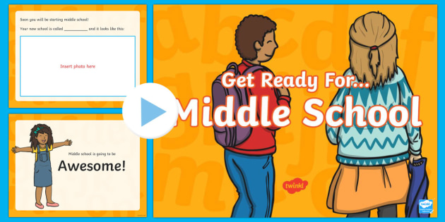 Get Ready for Middle School PowerPoint - Elementary, middle school, transition, 5th grade, new school, new start.