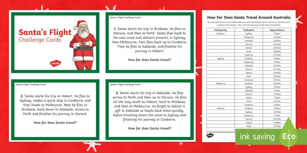 Santa's journey around Australia Maths Challenge Cards