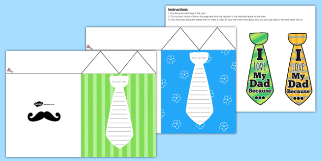 Fathers Day Flap Tie Card Craft - fathers, day, flap, tie, card