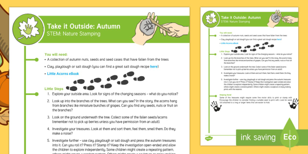 EYFS Take It Outside: Autumn STEM - Nature Stamping Activity