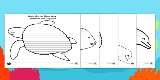 new under the sea shape poetry writing template