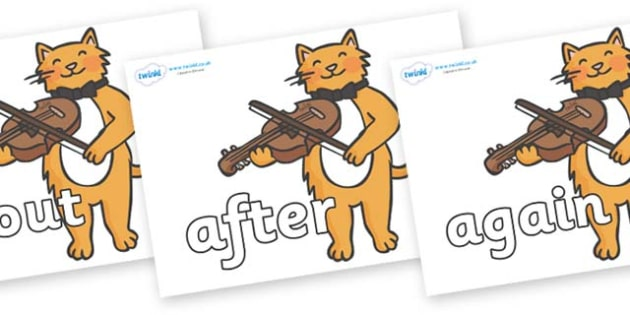 KS1 Keywords on Cat and Fiddle - KS1, CLL, Communication language and literacy, Display, Key words, high frequency words, foundation stage literacy, DfES Letters and Sounds, Letters and Sounds, spelling