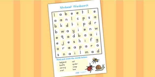 Minibeast Wordsearch - minibeasts, animals, word search, games