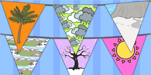 Winter Bunting Temperate - seasons, weather, flags, display