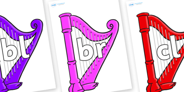 Initial Letter Blends on Harps - Initial Letters, initial letter, letter blend, letter blends, consonant, consonants, digraph, trigraph, literacy, alphabet, letters, foundation stage literacy