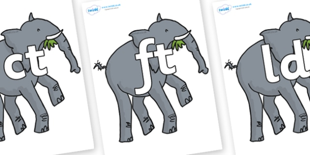 Final Letter Blends on Trunky The Elephant to Support Teaching on The Enormous Crocodile - Final Letters, final letter, letter blend, letter blends, consonant, consonants, digraph, trigraph, literacy, alphabet, letters, foundation stage literacy
