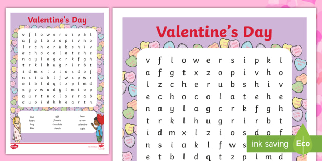 graphic about Valentine's Day Word Search Printable called Valentines Working day Phrase Look - valentines working day, valentine