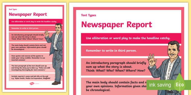 Text Types Guide Newspaper Report Display Poster  Newspaper